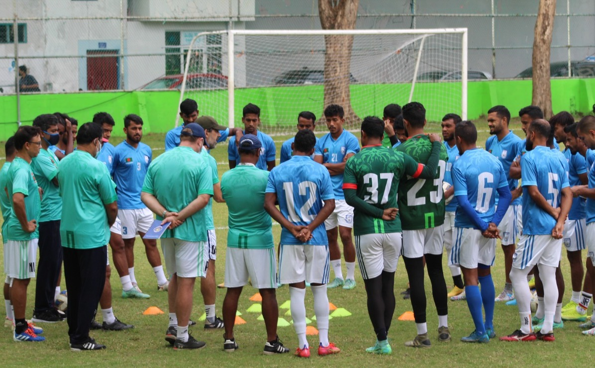 Bangladesh national football team is completing a practice session at the Henveiru Training Pitch in Malé