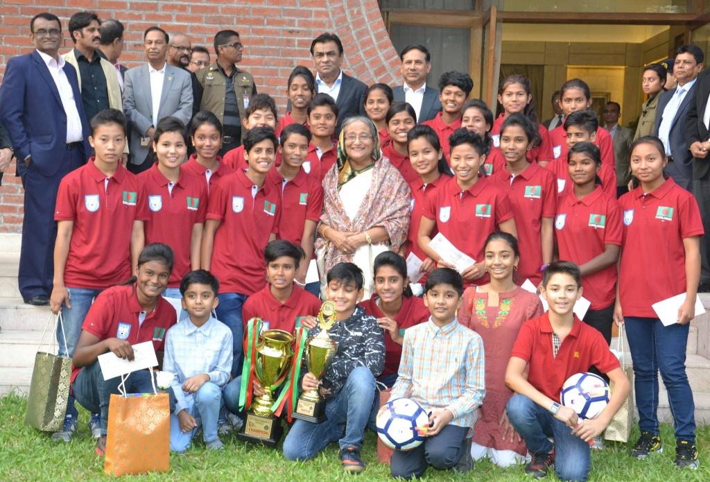 PM honours U-15 girls for SAFF triumph