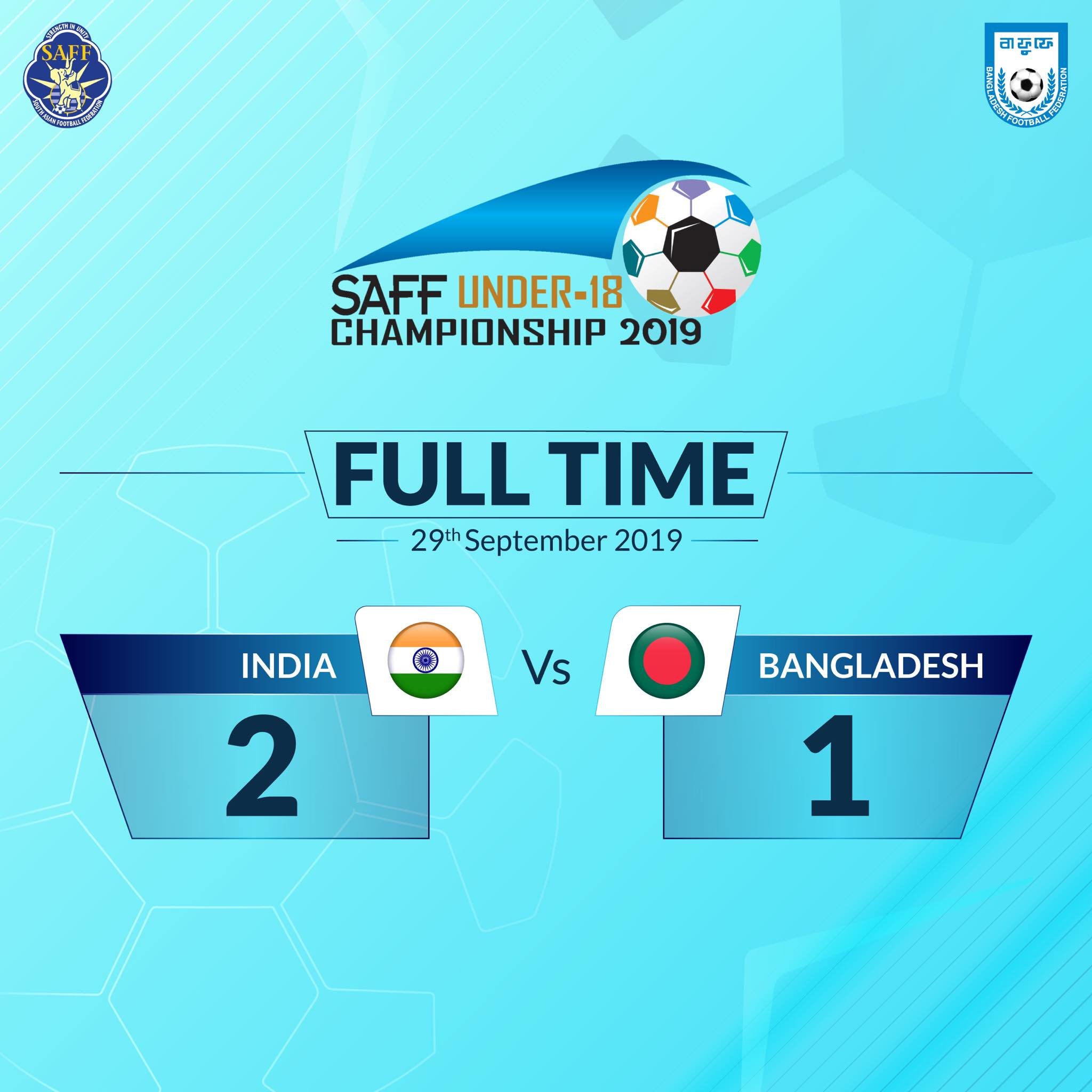 Nine-man Bangladesh concede 91st-minute winner against India in SAFF U18 Championship Final