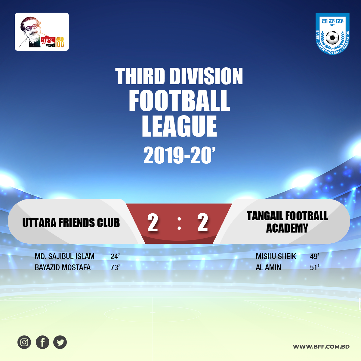 Uttara Friends Club and Tangail Football Academy  draws the match