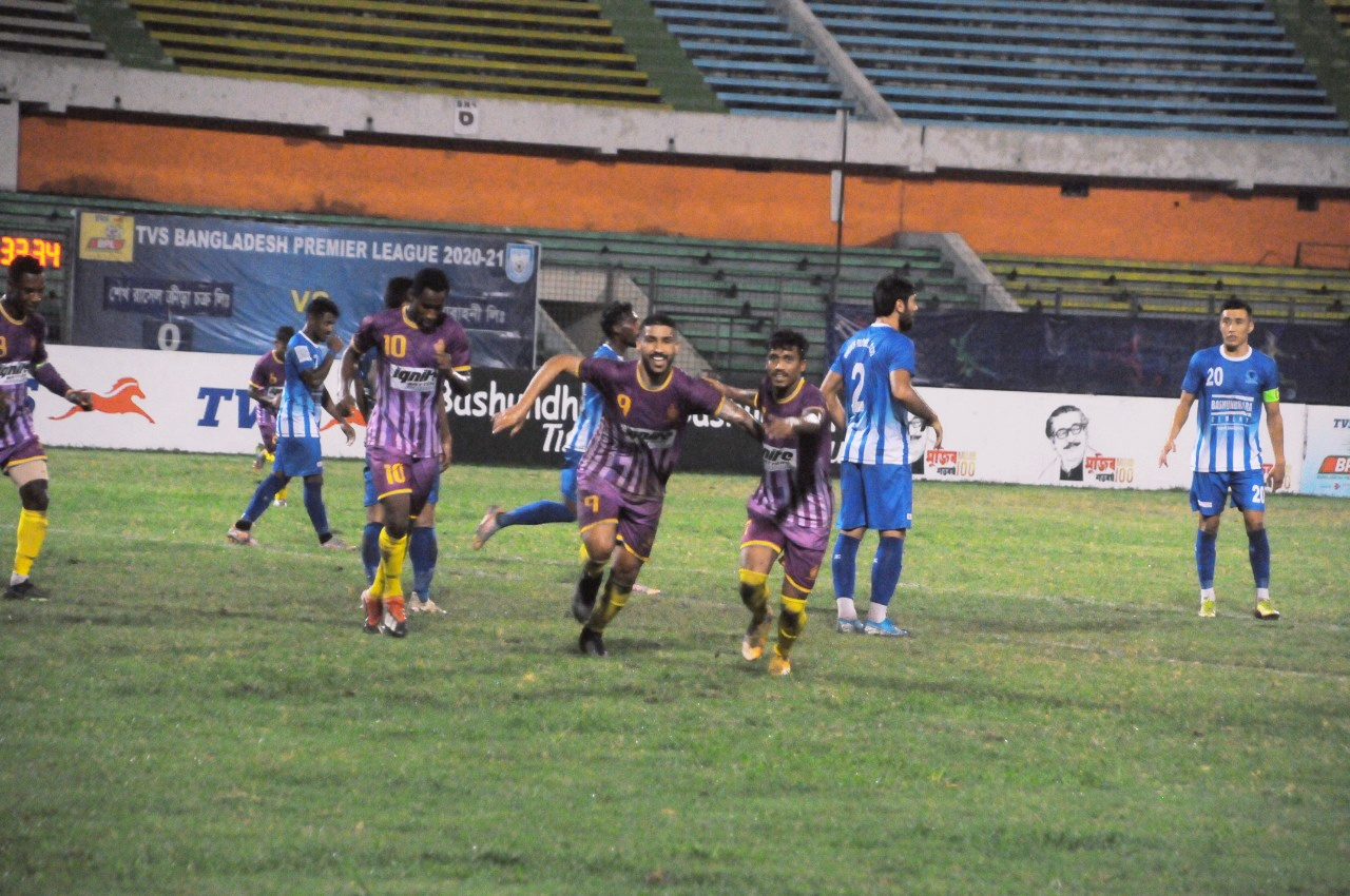 Chittagong Abahani Ltd. defeated Sheikh Russell KC by 2-0 goals